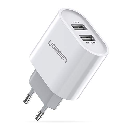 UGREEN USB Ladegerät 17W 3.4A USB Ladeadapter 2 Ports Netzteil mit Intelligent Technologie kompatibel für iPhone 11/ X/8Plus /8/7, iPad Air,Galaxy S9 plus/S8/S7, Kameras,Handys, Tabletten Weiß (Sony Smartwatch 1 Zubehör)