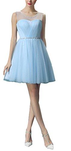 CoutureBridal® Kleid Kurzes Damen Gaze Kleid Brautjungfer Cocktailkleider  Partykleider Hellblau