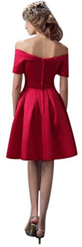 Eyekepper Robe Femme demoiselle bal fete courte robe de soiree en satin Rouge