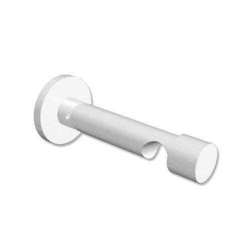 Interdeco Gardinenstangen Träger / Wandhalter / Schraubkappen-Halterung Weiß 9 cm Abstand offen 1-läufig 20 mm Ø Prestige