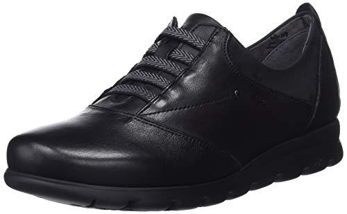 Fluchos Susan, Zapatos de Cordones Derby para Mujer, Sugar Nobuck Negro, 36 EU
