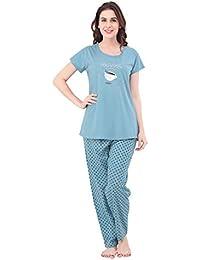 ZEYO Women's Cotton Blue & Green Polka Dot Print Night Suit