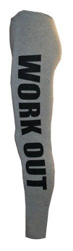 Janisramone dames styliste fonctionné jambières et le slogan logo culture dessus GRIS LEGGINGS D'EXERCICES