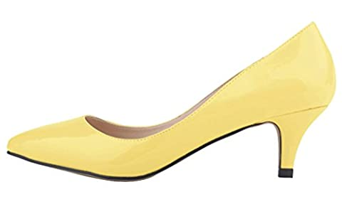 Women's Pointed Closed Toe Slip On Kitten Low Heel Dress Pumps Yellow PU Size EU39