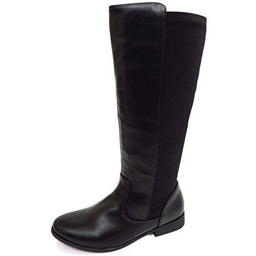 Damen Schwarz, Flach kniehoch Riding Reißverschluss Elastisch Wade Hoch Stiefel Schuhe Größen 3-8 - Schwarz, 6 UK / 39 EU