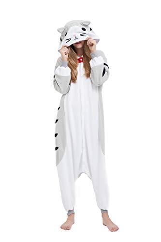 Fandecie Tier Kostüm Tierkostüm Tier Schlafanzug Katze Pyjamas Jumpsuit Kigurumi Damen Herren Erwachsene Cosplay Tier Fasching Karneval Halloween (Grau Katze, L:Höhe 170-179cm)