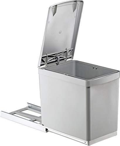 Quellmalz Cocina Cubo de Basura empotrable 1x 16L Mano extraíble con automática de la Tapa Palanca...