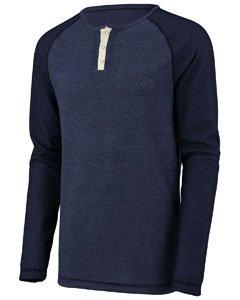 Augusta Sportswear Men'S Linear Fusion Long Sleeve Henley S Navy/Black Fusion Augusta Sportswear Henley
