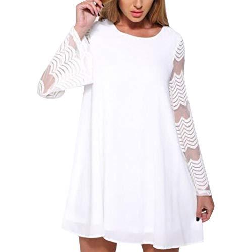 Yvelands Damen Kleider Oansatz Solid Mesh Stripes Patchwork Vollansatz Kurzes Loses Minikleid(Weiß,EU-36/M)