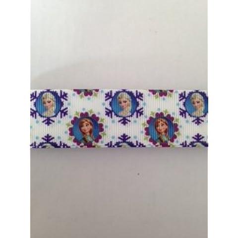 Cinta: 25 mm grogrén cinta - cinta de doble cara de reina de la nieve Elsa y Anna