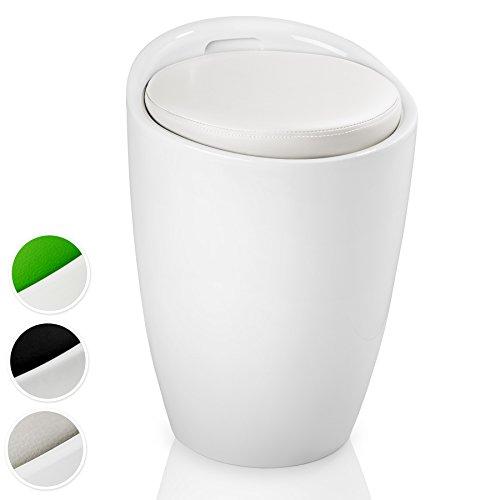 TecTake Tabouret de salle de bain panier à linge fateuil chaise rond avec rangement - diverses couleurs au choix - (Blanc Blanc | No. 402077-3)