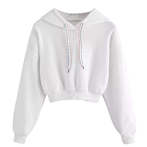 Damen Hoodies Pullover Mantel Fleecejacken MYMYG Frau Lässige Faux Pelz Kordelzug Crop Hoodie Top Bluse Weiße (A1-Weiß,EU:34/CN-S) (Crop Over Kostüme)