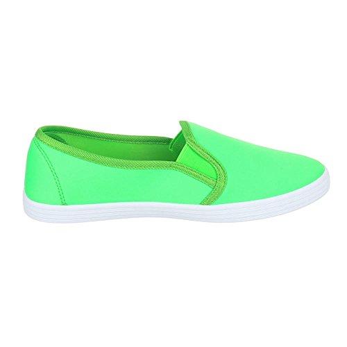 Slipper Damen Schuhe Low-Top Moderne Ital-Design Halbschuhe Neongrün