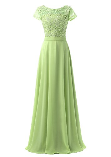 Callmelady Col Haut Mousseline de Soie Dentelle Longue Robe de Soirée Femme avec Manches courtes Vert Citron