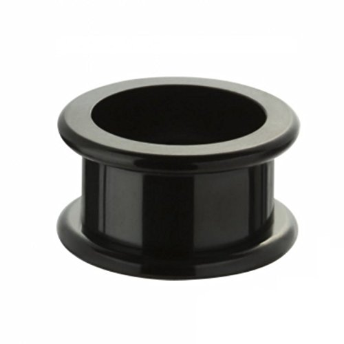 Black Steel - Tunnel - Innengewinde - abgerundet (Piercing Flesh Tunnel Ohr Plug für gedehnte Ohren Lobes Tubes schwarz)