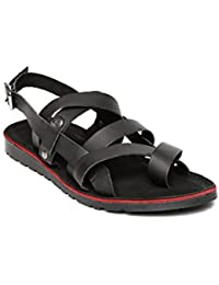 HARVARD Men Black Leather Sandals