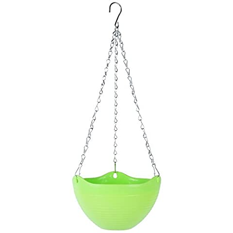 Planter Pot Holder Bowl Indoor Outdoor Hanging Use, TankerStreet Plastic Plant Flower Pot Planter with Saucers, Hanger Hooks and Chain for Garden Balcony Fences Window Deorations(Green) - Graves Gran