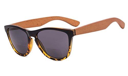 Eyekepper Bifokale Sonnenbrille mit Holz Tempel für Frauen +1.00 Stärke Lesen Sonnenbrillen mit Holz Tempel(Schwarz-Schildkröte Rahmen)