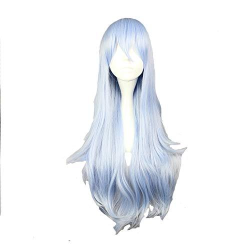 DDDMMM 75Cm Lange Synthetische Gewellte Cosplay PerückeHellblaueFarbe 100% Hochtemperaturfaser (Lange Hellblaue Perücke)