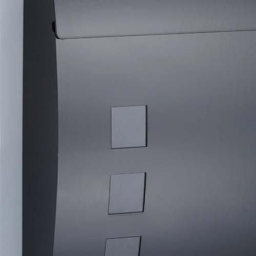 Designer Briefkasten Schwarz | Postkasten Mailbox Zeitung | Design mit satinierten Sichtfenstern. Inkl. Montagematerial & 2 Schlüssel! - 2