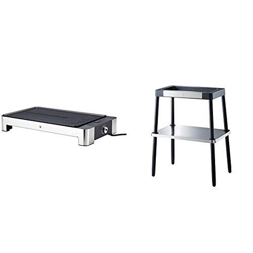 WMF Lono Tisch-/Elektrogrill, gerippt, 2000 W, mit variabler Temperatureinstellung, Standfuß, Zubehör für alle Grills der Master Grill, witterungsbeständig, cromargan matt/silber