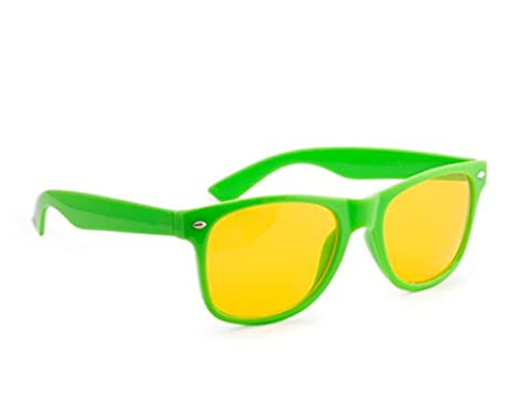 4sold Anti Glare Glasses Night Driving Yellow Lens Glasses, Tortoise Shell Brown Frame, Men, Women, Unisex (Green Night)