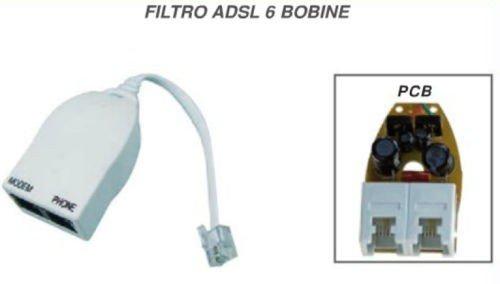 MICROELETTRONICA - ADSL-Filter-Adapter Polspulen 6 in / out Modem / Telefon x Telefonnetz