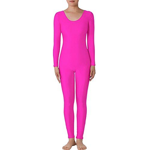 Muka Rundhalsausschnitt Lange Ärmel Unitard Lycra Zentai Bodysuit Catsuit Dancewear, Pink, PUKH-DK31138_PINK-MADETOMEASURE (Piece One Cosplay-accessoires)