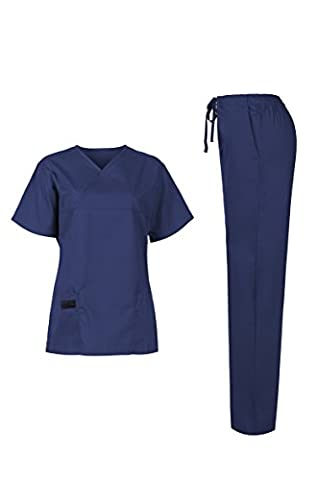 MedPro Women's Medical Scrub Set (Top & Bottom) Navy L (5868)