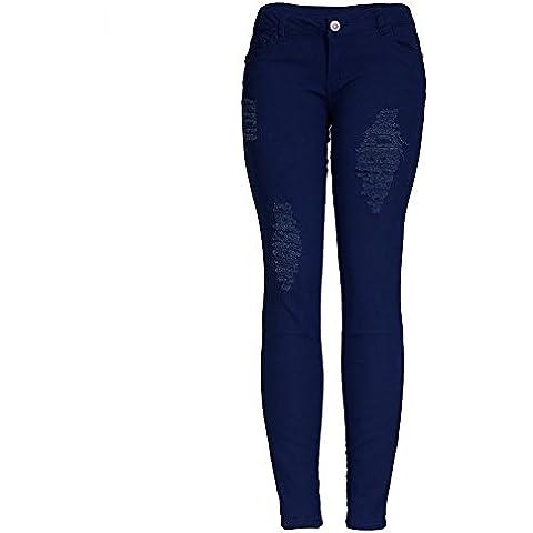 FF&CAI Magrissime donne Distressed distrutto foro lungo Denim Pantaloni , deep blue , m