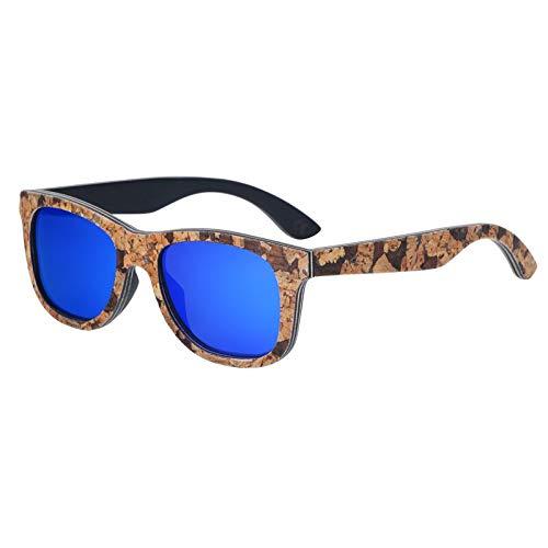 Zbertx Neue Frauen-Sonnenbrille Kork-Holzrahmen-Sonnenbrille-Männer polarisierte Sonnenbrille,Blau
