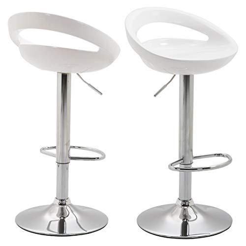 Duhome Elegant Lifestyle 2er Set Barhocker Kunststoff Weiß Barstuhl Farbauswahl höhenverstellbar Tresenhocker Drehbar - Typ 147