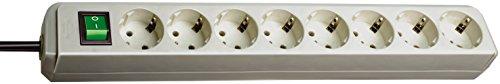 Brennenstuhl Eco-Line 8-fach Steckdosenleiste (Steckerleiste mit Kindersicherung, Schalter und 3 m Kabel) lichtgrau