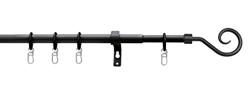 Tilldekor ausziehbare Gardinenstange ROMA II, schwarz, Ø 13/16 mm, 1-Lauf, 70 - 120 cm, inkl....