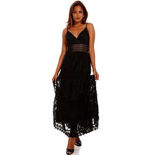 YC Fashion & Style Damen Maxikleid Bohemian Hippie Kleid mit Spitze Ibiza Strandkleid Party Kleid Freizeitkleid (L = 38/40, Schwarz)