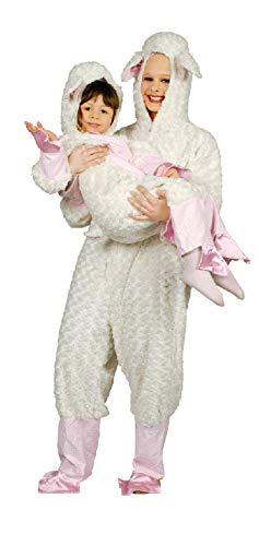narrenkiste K332534-98-104 weiß-rosa Mädchen Junge Kinder Lamm Kostüm-Overall Gr.98-104 (Rosa Lamm Kostüm)