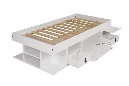 Funktionsbett Bali 90x190 - Bett mit viel Stauraum und Schubladen, optimal für kleine Schlafzimmer - Modernes Stauraumbett aus Kiefer Massivholz Weiss lackiert - Preis inkl. Lattenrost