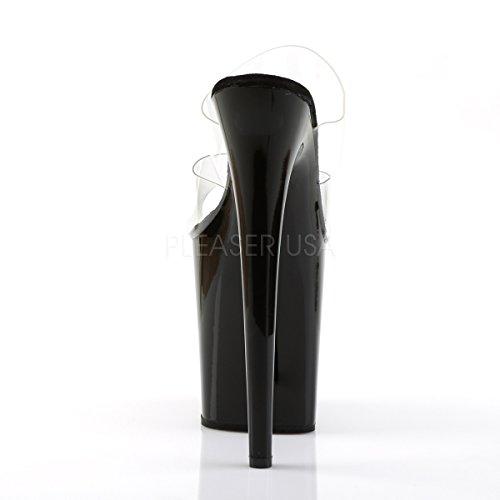 PleaserUSA Gogo-Platform High Heels Flamingo-802 Klar/Schwarz