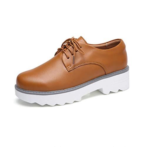 uschuhe Oxfords Weiß Rutschfeste Lace Up Kuh Leder Büro Casual Creepers Heels Schuhe ()