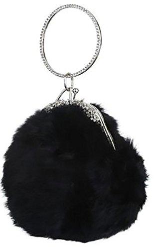 7df9938e87 Pochette elegante di pelliccia con bracciale alt manico12cm alt16cm lun17cm  larg11cm tracolla 50cm Nero