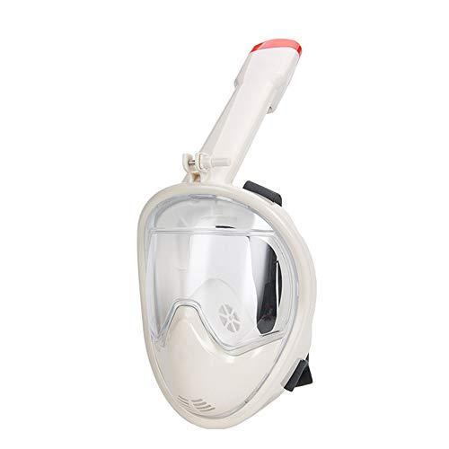 Máscara de esnórquel de Cara Completa, 180 ° Plegable y fácil de Respirar Compatible con Anti-vaho y antifugas, para niños y Adultos,White,L