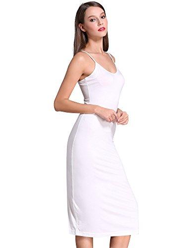 MSBASIC Verstellbare Spaghetti-Träger langes Cami Slip-Kleid für Damen 18027-2, Weiß, S -