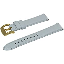 Crocodile Grain Padded Italian Calfskin Leather Watch Band With Brushed Gold Buckle