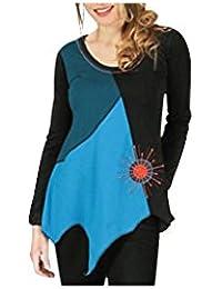 Aller Simplement - Tee-shirt asymétrique femme en coton à manches longues col rond Aller Simplement TS901