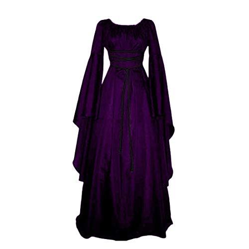 Für Erwachsene Mittelalterlichen Maid Kostüm - Damen Mittelalter Langarm Kleid - Retro