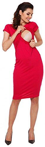 Zeta Ville - Still Kleid Diskretes Schwangere Rundhalsausschnitt - Damen - 971c Himbeere