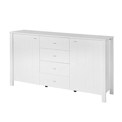 SoBuy®Aparador,mesa auxiliar, con 2 puertas y 4 cajones,blanco,FSB02-W,ES