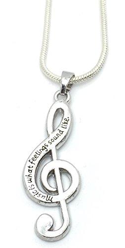 "Colgante de nota musical, diseño con texto ""Music Is What Feelings Sound Like"""