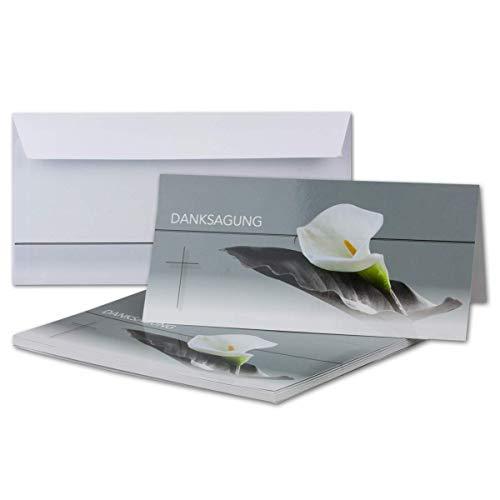 25x Danksagungskarten Trauer mit Umschlag DIN LANG - Mit Text DANKSAGUNG - Motiv Trauerblume mit Blatt - Trauerkarten Set - würdevolle Dankeskarte