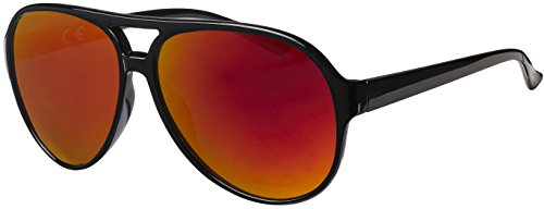 La Optica UV 400 Herren Retro Sonnenbrille Pilotenbrille Fliegerbrille - Einzelpack Glänzend Schwarz (Gläser: Rot verspiegelt)